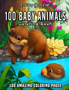 Libro para colorear de 100 animales bebé de 100 páginas adultos - Los mejores libros para colorear de animales