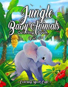 Libro para colorear de Jungle Baby Animals de 50 páginas - Los mejores libros para colorear de animales